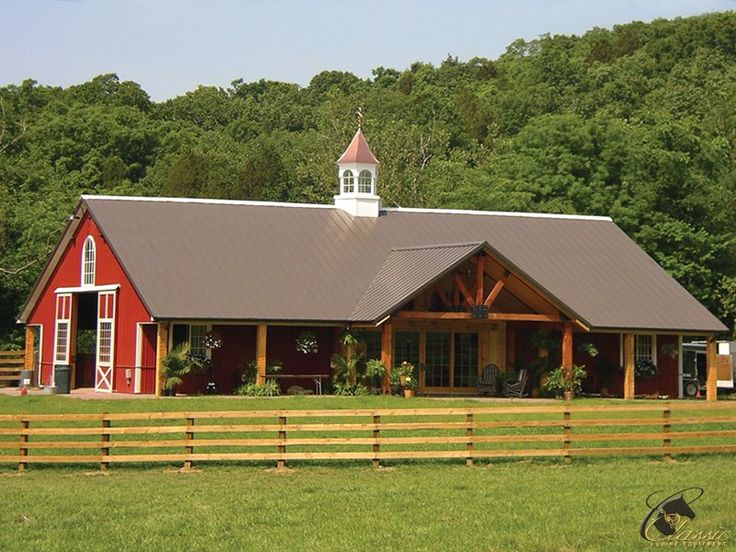 Spacious Custom Horse Barn And Stalls With A Beautiful Porch Style Seating Area In The Front