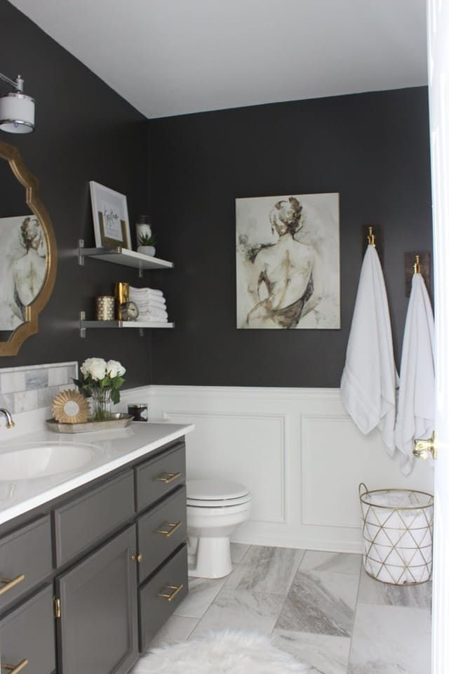 Best Black Bathrooms Ideas On Pinterest Black Powder Room - Waterproof paint for bathroom tiles for bathroom decor ideas