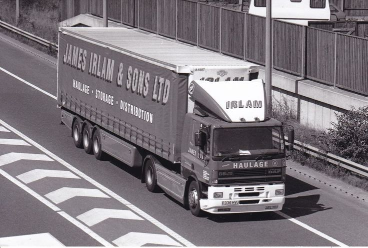 B/W PHOTO JAMES IRLAM LEYLAND DAF 85 ARTIC CURTAINSIDE TRAILER - P336 HVU #Notapplicable