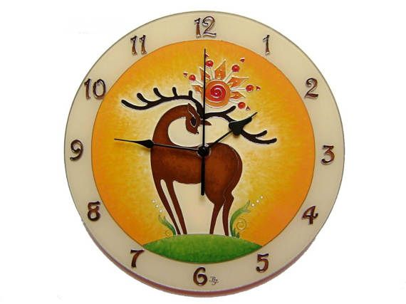 Deer Holding the Sun, Large, Silent Wall Clock, Unique, Hand Painted, Glass Paiting Clock, Gift Hunter
