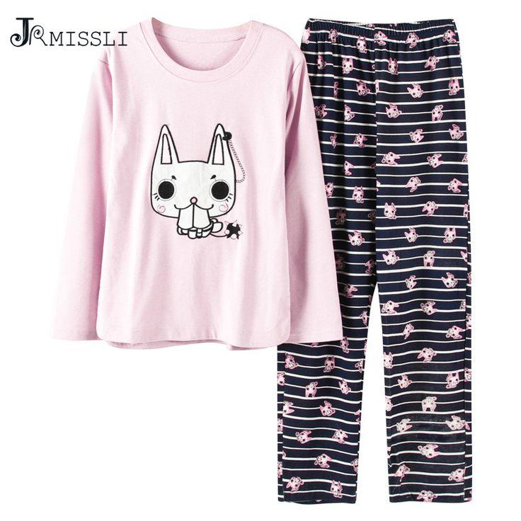JRMISSLI Animal Cartoon Panda Pajamas pyjama femme Spring Autumn pijamas women pyjama set Cotton pajamas home clothes B5808 #Affiliate