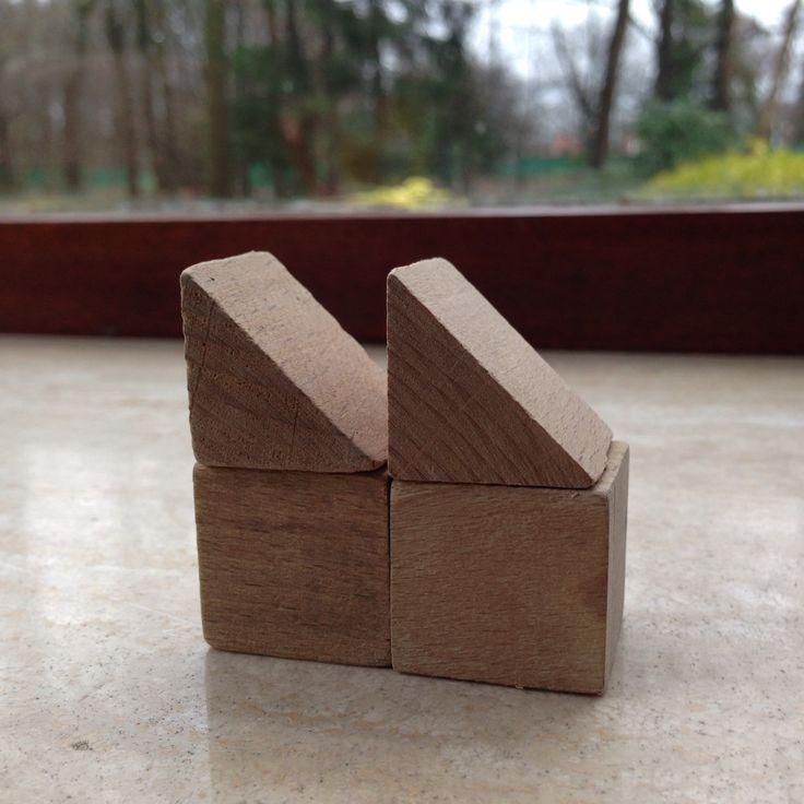 Bouwen met kubus en halve kubus. 4.