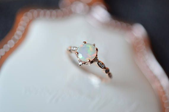 Opal Wedding Ring Rose Gold Opal Engagement Ring Ethiopian
