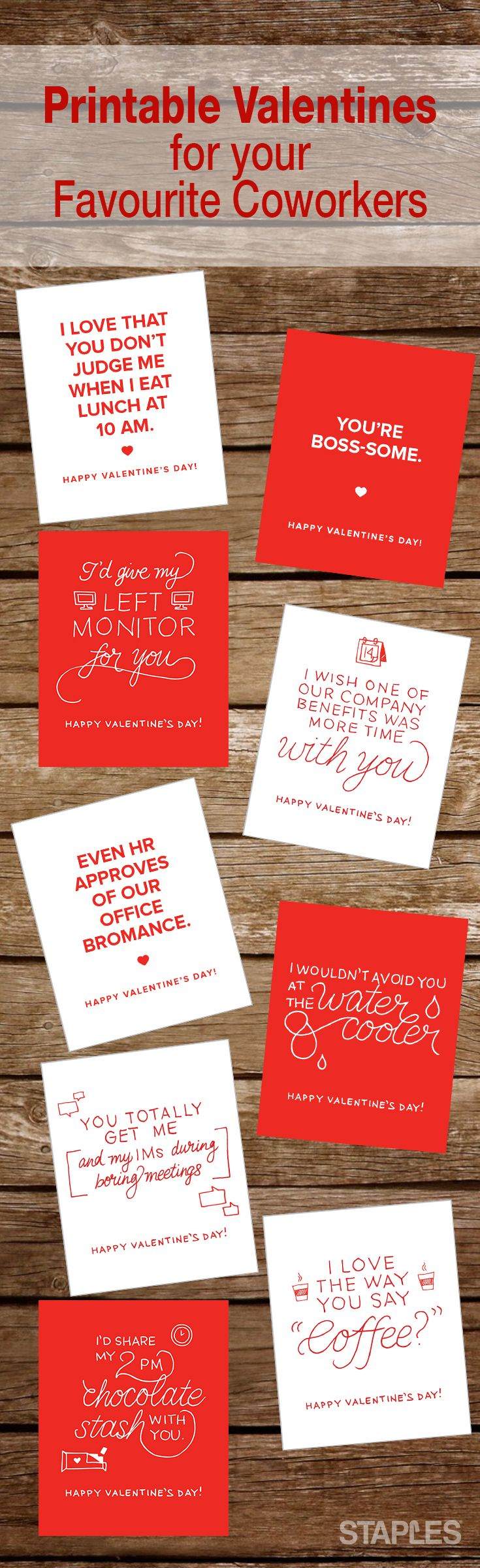 Free Printable Valentines for your Favourite Coworker