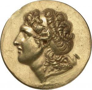 Medaglione - oro - Beroia, Macedonia  (prima metà III sec.a..C.) - Alessandro III con capelli lunghi a riccioli legati da diadema e corno di Ammone - Münzkabinett Berlin