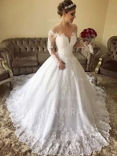 605a8556e1a  US  177.00  Off-The-Shoulder Ball-Gown Wedding Dresses Tulle Lace Long  Sleeves Sweep Train