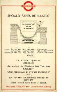 """Should fares be raised?"", 1920s London Underground advertisment"