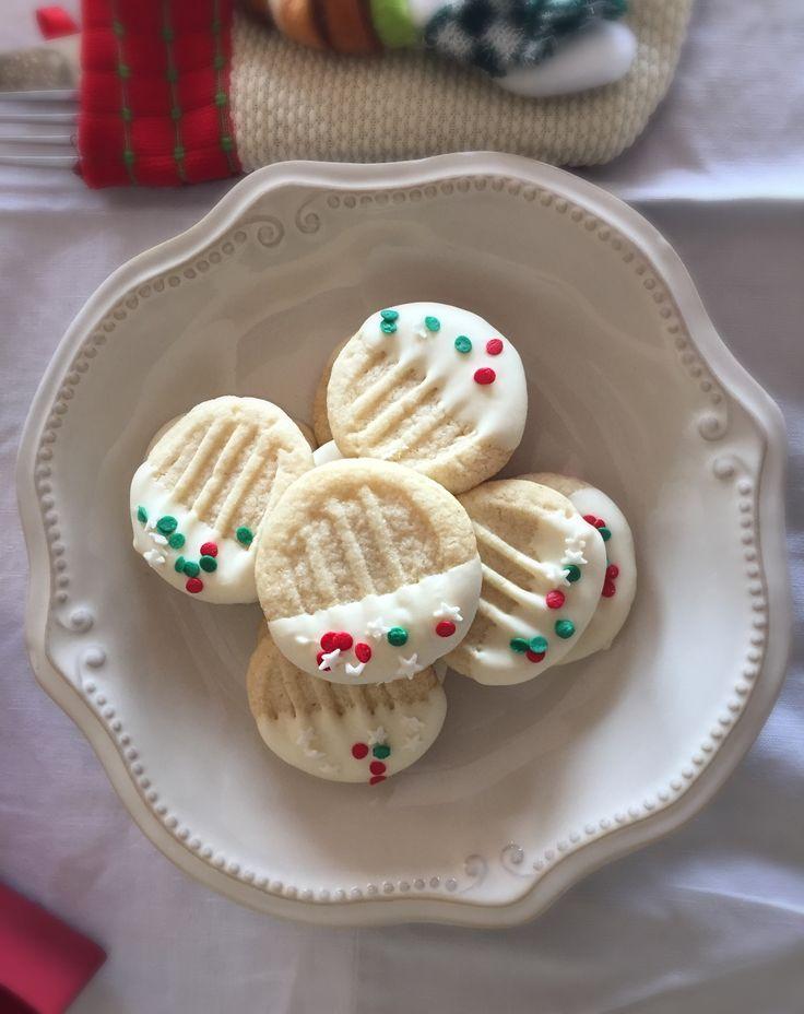 Galletas de Mantequilla y Chocolate blanco, deliciosas y preciosas para la mesa de Navidad!
