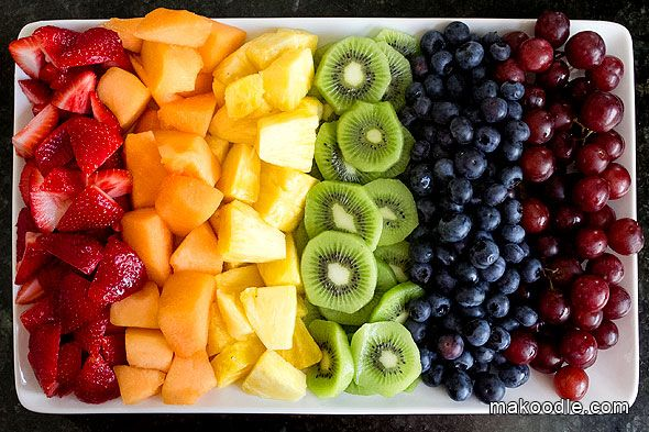 Rainbow Fruit Tray.  Wash and cut up fruit in advance and store each kind in its own ziploc. Serve the following morning as pictured.