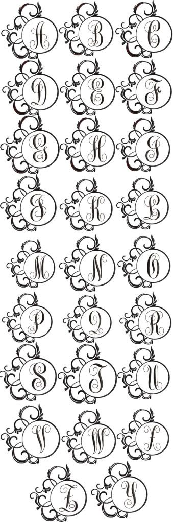 Fancy Frame Monogram Alphabet