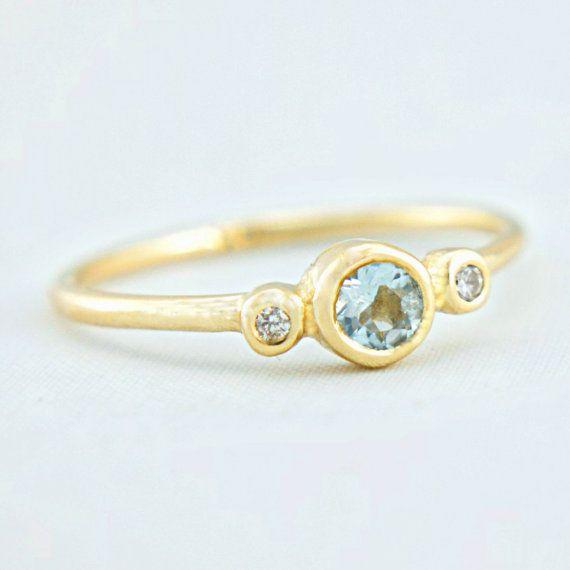 Aguamarina y diamante anillo de oro 14k oro anillo de
