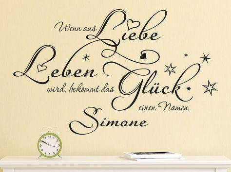Cool Wandtattoo Eichh rnchen als Wanddekoration f rs Kinderzimmer Wenn aus Liebe Leben wird bekommt das Gl ck einen Namen u Mit diesem sch nen Spruch