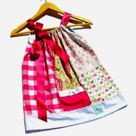 Baby pillowcase dress age 34 years patchwork by dottyboutique, £23.00