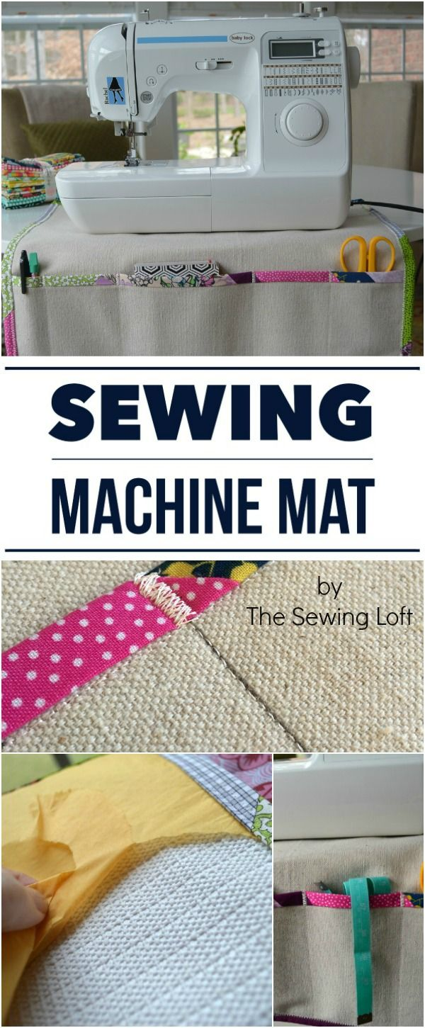 A sewing machine mat with pockets for tools used during sewing, gripper back to keep machine in place - cool project!