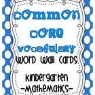 Common Core {Kindergarten Math Vocab list} All Common Core math vocab cards and check off list $6