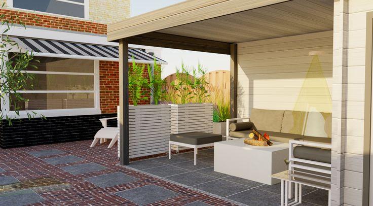 Een tuin voor het hele gezin met verschillende terrassen en prive zithoeken. Onder de overkapping van het moderne platdak tuinhuis is een ruime zithoek met loungebank en vuurtafel te vinden.
