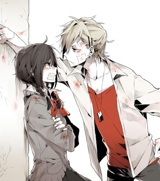 I honestly don't know who they are. The girl looks kind a like a character from: Kokoro Rental, - Durarara.  The girl's attitude stance, her school uniform and her look's, look's like Misaki from Kaichou wa Maid-sama!.   But the guy isn't her hot Usui.?  The guy looks like a character on from: Uta No Prince Sama, - Watashi ni xx Shinasai!, - Tonari no Kaibutsu-kun, - Hetalia.  I would love to find out what anime this is.  Does Anyone know???  Please.  :)