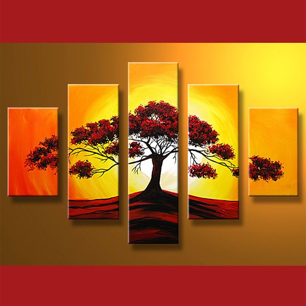 Moderna De La Lona Pintura Al óleo Con Los árboles