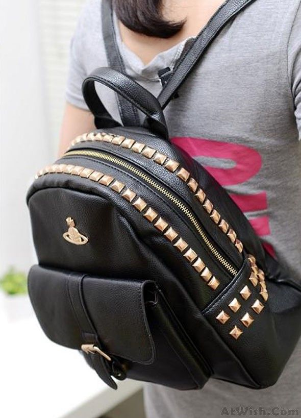Wow~ Awesome Retro Crown Rivets PU Leather BackpackSchoolbag! It only $34.99 at www.AtWish.com! I like it so much<3<3!