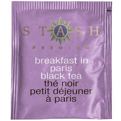 "Stash Tea Breakfast in Paris Black Tea   wrap with thin lace ""the perfect Blend"" with bride and grooms name and wedding date ..sweet!"