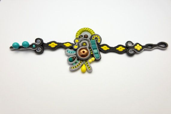 Soutache bracelet embroidered jewelry lemon and lime statement bracelet boho jewelry unique design perfect gift