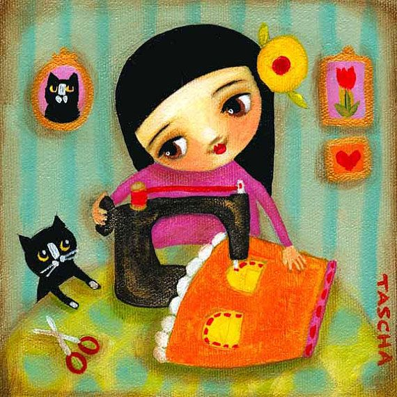 sewing girl seamstress with tuxedo cat PRINT of original by tascha, $15.00