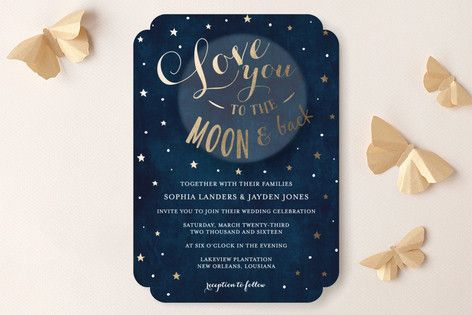 Love you to the Moon and Back Wedding Invitations
