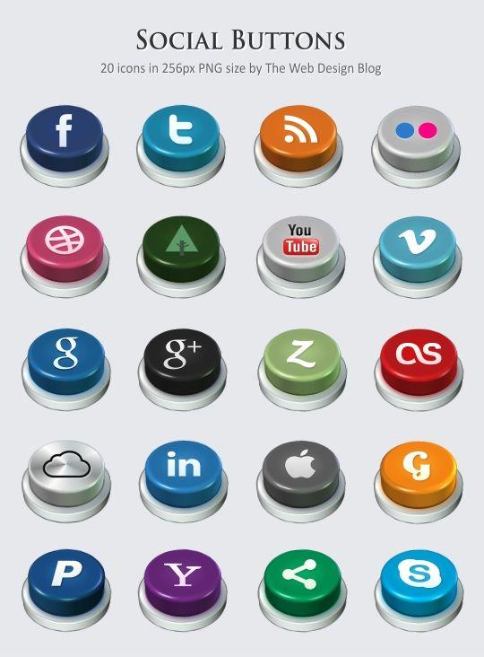social buttons social media icons set