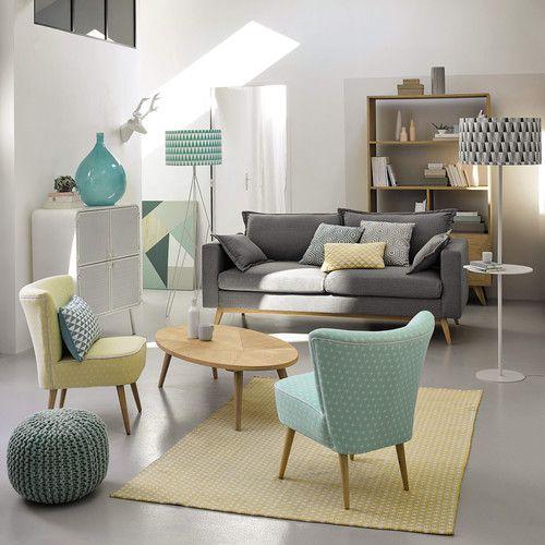 Canapé 3 places en tissu gris clair Duke | Maisons du Monde