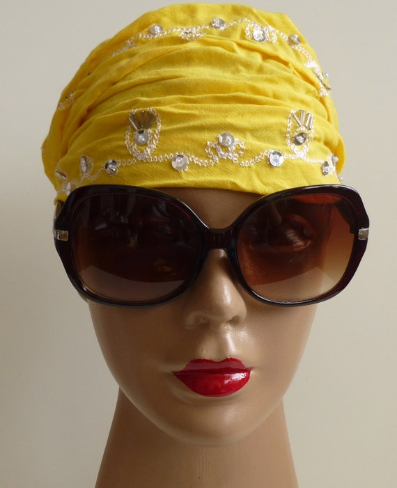 Yellow Bandana Indian style embroidery Bandana by ShawlsandtheCity, $10.00