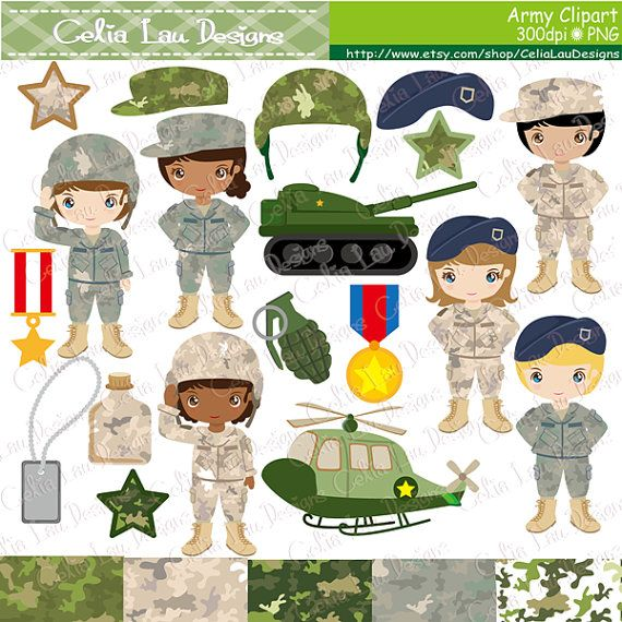 Army Clip Art  Army party kids digital clipart от CeliaLauDesigns