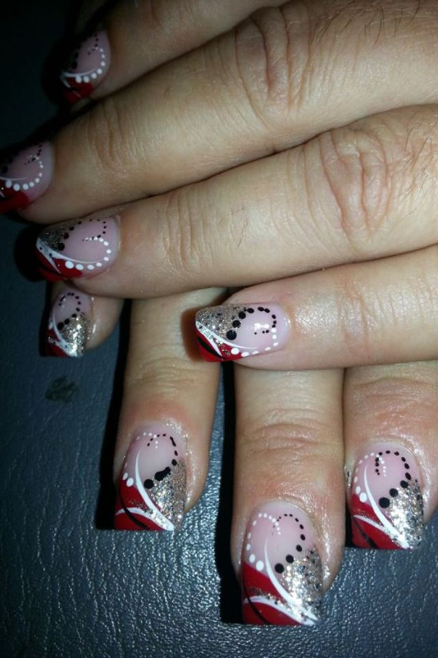 Acrylic nails black and white and silver glitter nails