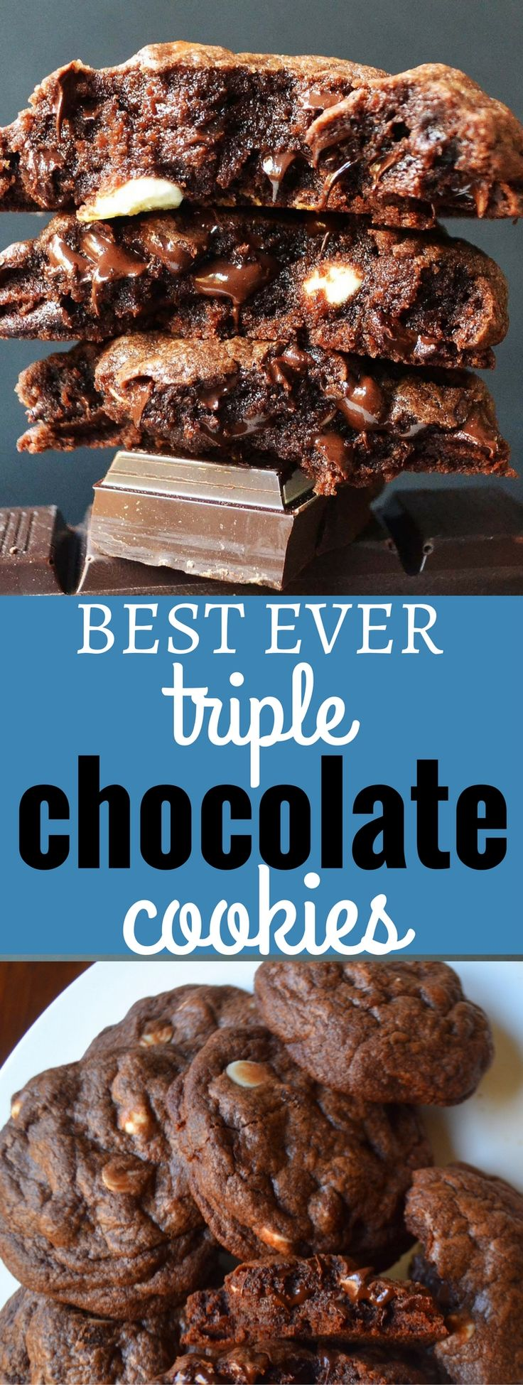 BEST EVER Triple Chocolate Cookies. A Chocoholic's dream cookie. Soft rich chocolate cookie studded with white chocolate chunks and semi-sweet chocolate chips. www.modernhoney.com