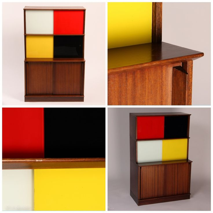 This 1950s Oscar storage is a French original mid-modern furniture and pioneer of modular system. Very famous in the 50s, Oscar has always been in the vanguard thanks to amazing designers like Marcel Gascoin and Didier Rozaffy. With white, red, yellow and black sliding glasses and wood. For sale on www.design-only.com!
