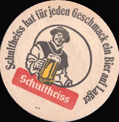 German beer coaster—Was trinken wir? Schultheiss Bier!