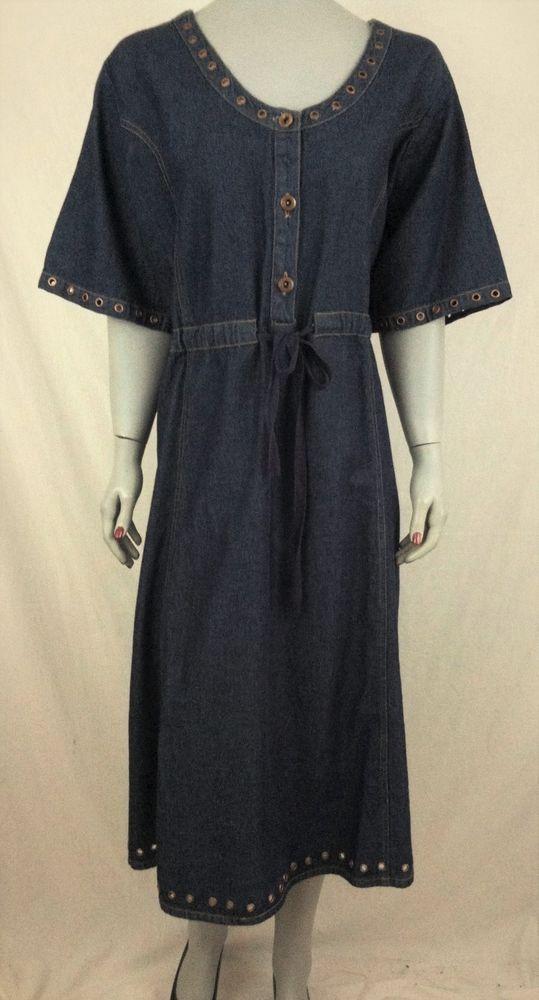 dec6a3d1858 DenimDress 20W Denim 24 7 Short Sleeved Denim Dress w Grommets - NEW ...