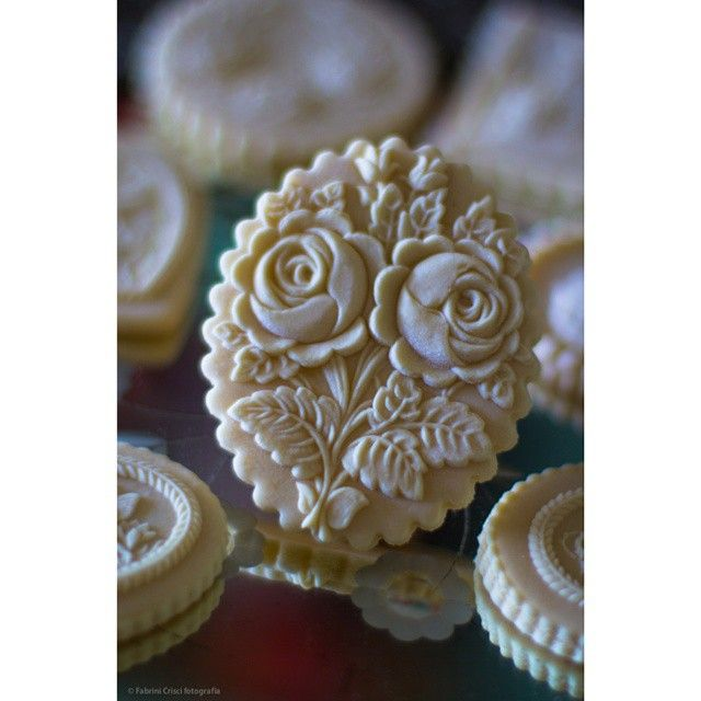 Detailed rose springerle cookie, oval shaped