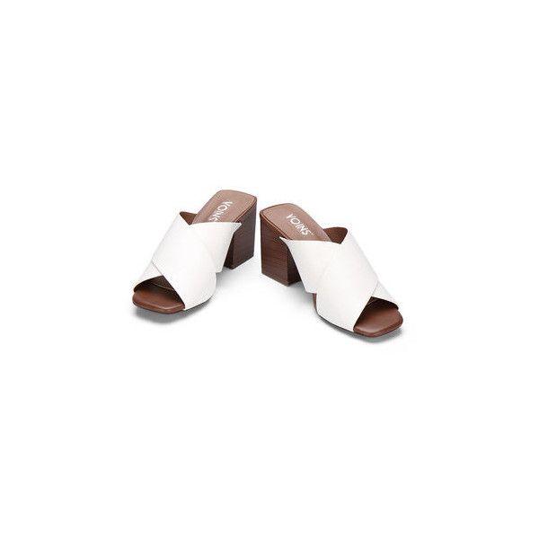 White Leather Look Cross Wide Strap Front Stacked Block Heels ($59) ❤ liked on Polyvore featuring shoes, pumps, white court shoes, faux leather shoes, stack shoes, cushioned shoes and synthetic leather shoes