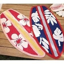 Pottery Barn Kids Boys Bath Mat Rug   Surfboard Shape Red Blue Multi Color X