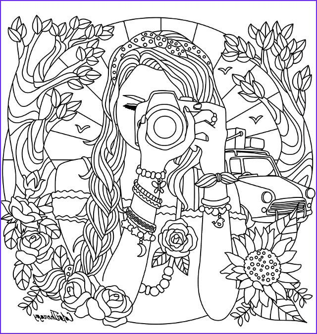 Camera Coloring Pages Girl With A Camera Coloring Page In 2020 Coloring Pages For Teenagers Mermaid Coloring Pages Abstract Coloring Pages