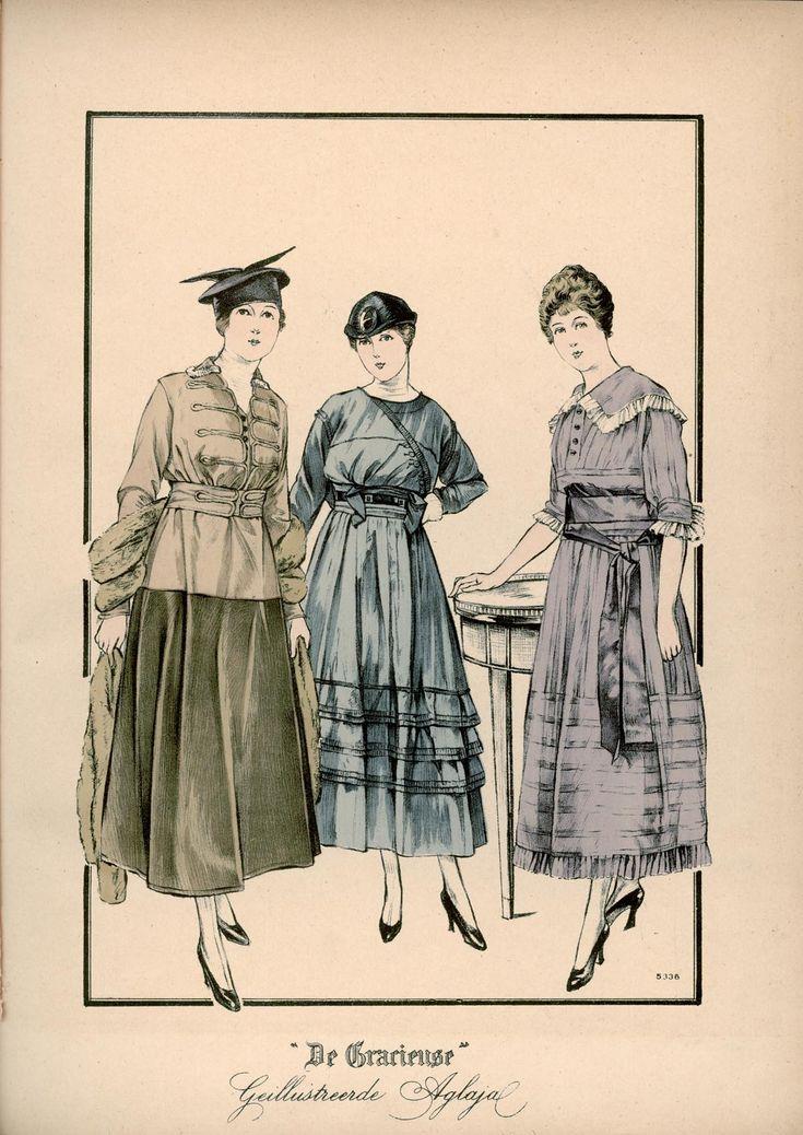 [De Gracieuse] No. 1. Tailleurjapon van Engelsch fluweel en taffet met een stola van zibeline. No. 2. Namiddagjapon van soepel taffet. No. 3. Japon van heliotrope-kleurige zijden voile (November 1915)