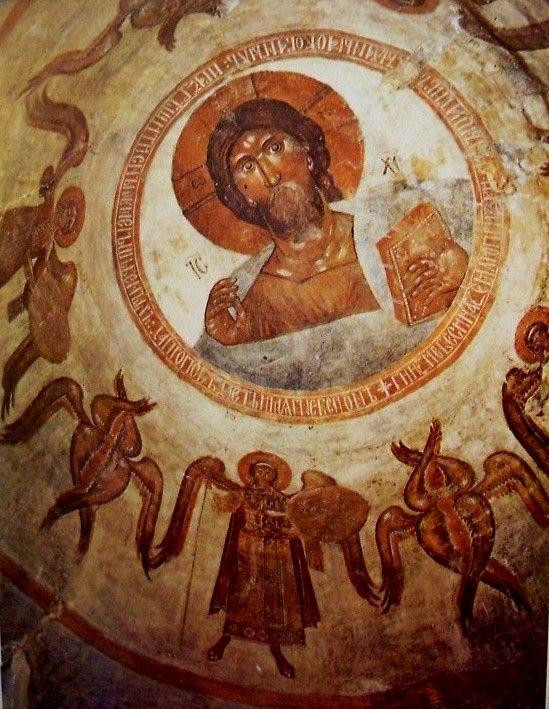 Görög Theophanész (Feofan Grek): Novgorod, Színeváltozás Krisztusa-templom falképei, 1378.: Pantokrátor / kupola