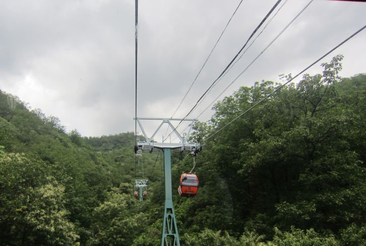 Cable car up to the National Tourist Attraction of the Mutianyu Great Wall near Beijing