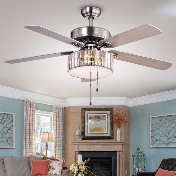 Kimalex Wood Nickel Crystal Ceiling Fan | Overstock.com Shopping - The Best Deals on Ceiling Fans