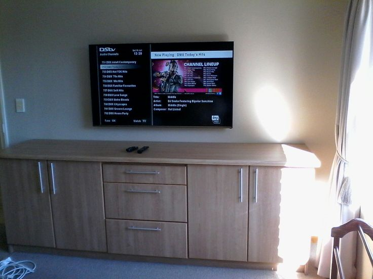 Tv wall mounted. Connected to Dstv Explora Decoder via HDMI over cat6 extender.