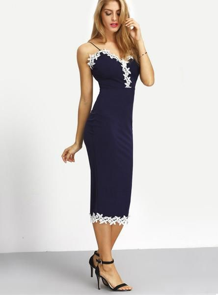 e2513c4c20 Navy Contrast Lace Sexy Fitness Pencil Dress in 2019 | Style baru ...