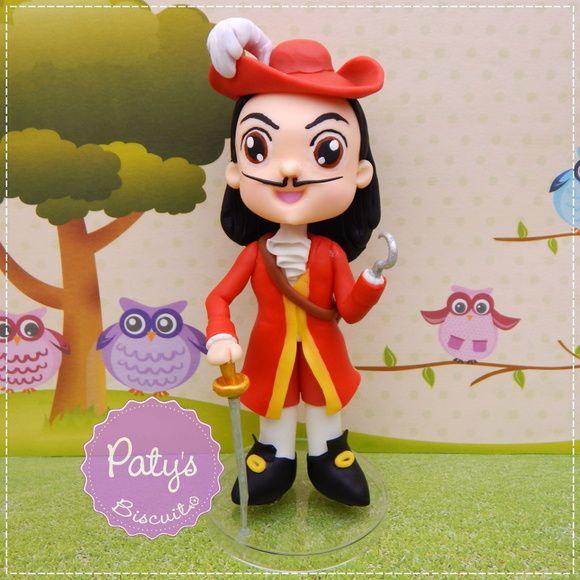 Miniatura/Enfeite de mesa Capitão Gancho - Festa Infantil Peter Pan / Sininho / Jake e os Piratas - Paty's Biscuit