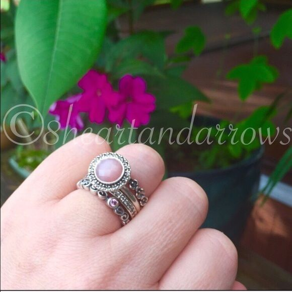 My pandora ring stack of the day NOT 4 SALE Today's pandora color is PINK BABY!! 💖💋🌸💐🌺🐶😘🎈 not for sale just for show. Enjoy the Pandy! Pandora Jewelry Rings