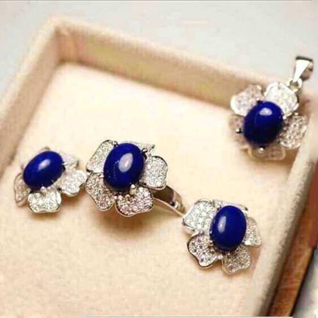 Derongems_Fine Jewelry_Elegant Doğal Lapis Lazuli Düğün Sets_S925 Gümüş Gerçek Lapis Lazuli Sets_Manufacturer Doğrudan Satış