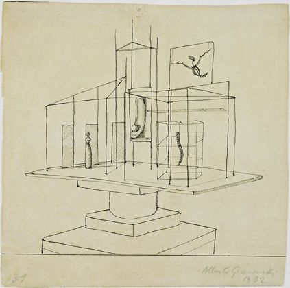 """Alberto Giacometti (Swiss, 1901–1966)  Study for The Palace at 4 a.m.  Date:1932Medium:Ink on paperDimensions:8 5/8 x 8 1/2"""" (21.8 x 21.6 cm)"""